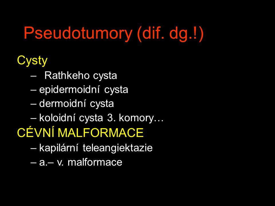 Pseudotumory (dif. dg.!) Cysty –Rathkeho cysta –epidermoidní cysta –dermoidní cysta –koloidní cysta 3. komory… CÉVNÍ MALFORMACE –kapilární teleangiekt