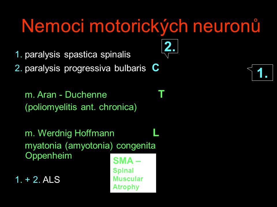 Klasifikace nemocí motorických neuronů Primární idiopatické (ALS) vrozené (SMA – systémové svalové atrofie) Sekundární infekční :akutní poliomyelitis, HIV, syphilis, priony metabolické: hyper/hypo thyr, hyperparathyr… imunitní- paraproteinemia Environmentální/toxické: Pb, Sb, Cd…neurolathyrismus vaskulární paraneoplastické: nHML, MLH Multisystémové neurodeg.
