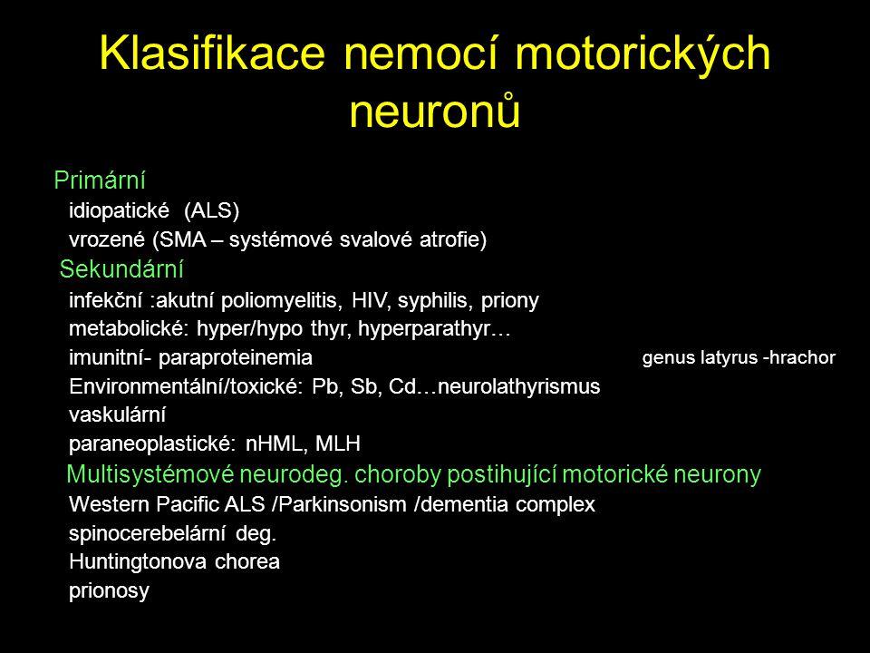 Klasifikace nemocí motorických neuronů Primární idiopatické (ALS) vrozené (SMA – systémové svalové atrofie) Sekundární infekční :akutní poliomyelitis,