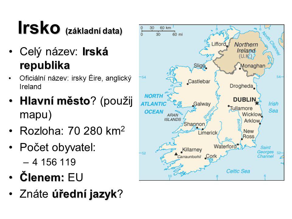 Irsko (základní data) Irská republikaCelý název: Irská republika Oficiální název: irsky Éire, anglický Ireland Hlavní městoHlavní město? (použij mapu)