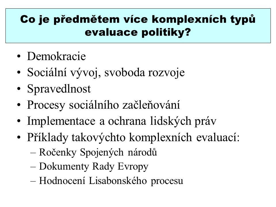 Co je předmětem více komplexních typů evaluace politiky? Demokracie Sociální vývoj, svoboda rozvoje Spravedlnost Procesy sociálního začleňování Implem