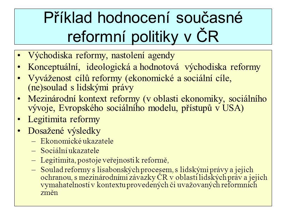 Příklad hodnocení současné reformní politiky v ČR Východiska reformy, nastolení agendy Konceptuální, ideologická a hodnotová východiska reformy Vyváže