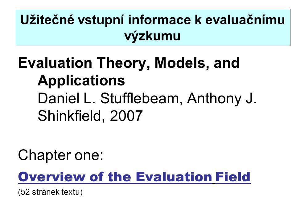 Užitečné vstupní informace k evaluačnímu výzkumu Evaluation Theory, Models, and Applications Daniel L. Stufflebeam, Anthony J. Shinkfield, 2007 Chapte