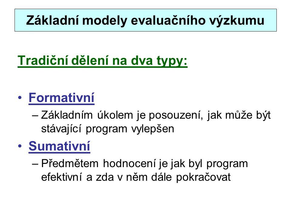 Základní modely evaluačního výzkumu Tradiční dělení na dva typy: Formativní –Základním úkolem je posouzení, jak může být stávající program vylepšen Su