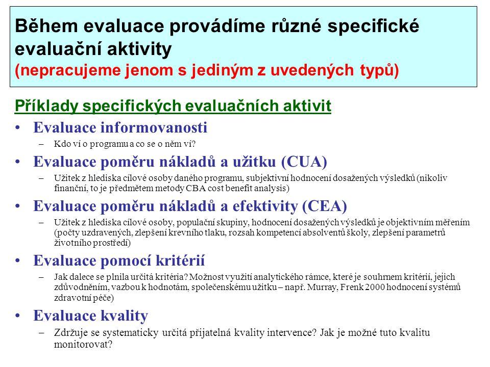 Během evaluace provádíme různé specifické evaluační aktivity (nepracujeme jenom s jediným z uvedených typů) Příklady specifických evaluačních aktivit