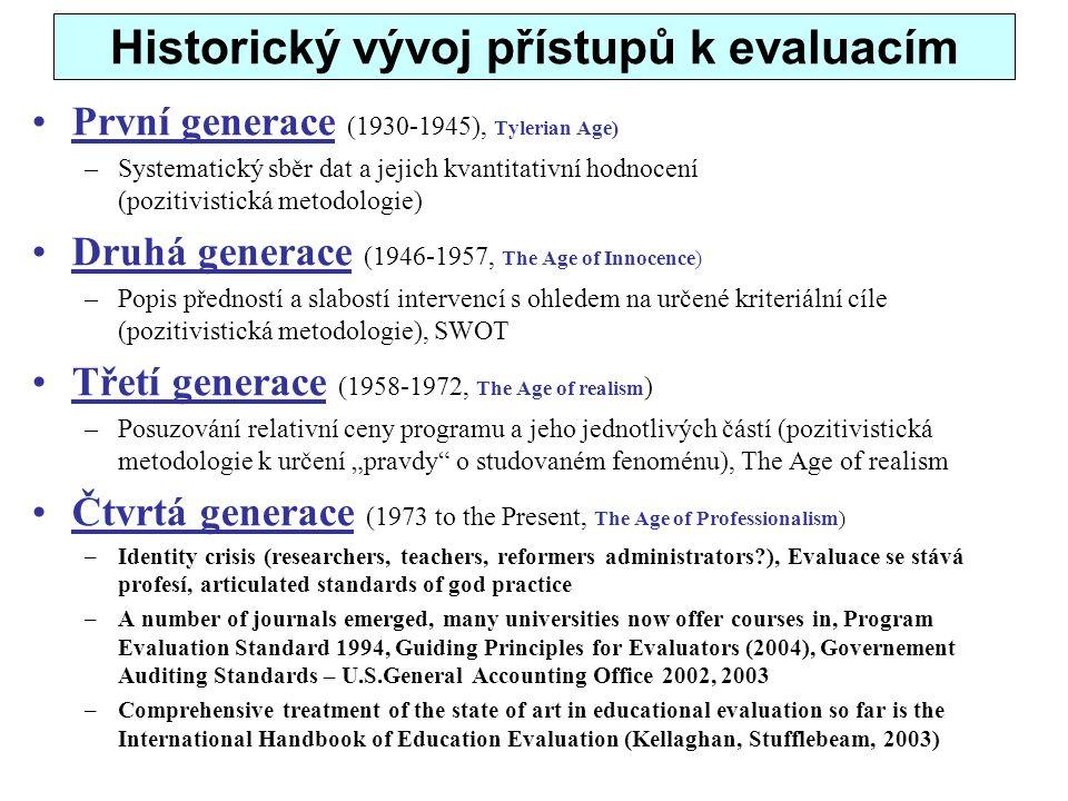 Historický vývoj přístupů k evaluacím První generace (1930-1945), Tylerian Age) –Systematický sběr dat a jejich kvantitativní hodnocení (pozitivistick
