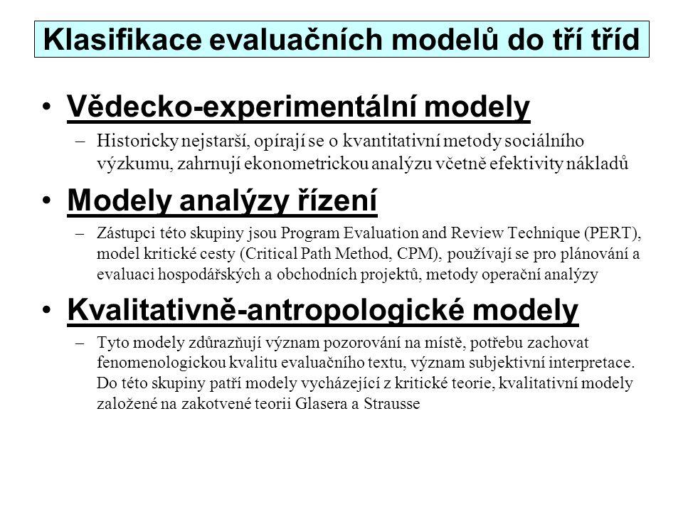 Klasifikace evaluačních modelů do tří tříd Vědecko-experimentální modely –Historicky nejstarší, opírají se o kvantitativní metody sociálního výzkumu,