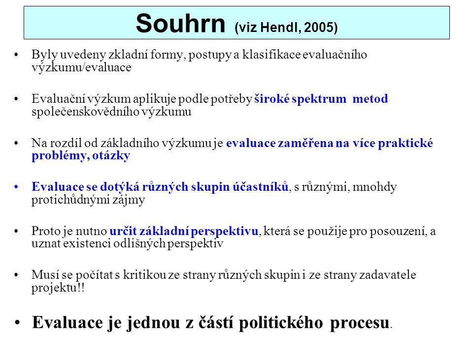Souhrn (viz Hendl, 2005) Byly uvedeny zkladní formy, postupy a klasifikace evaluačního výzkumu/evaluace Evaluační výzkum aplikuje podle potřeby široké