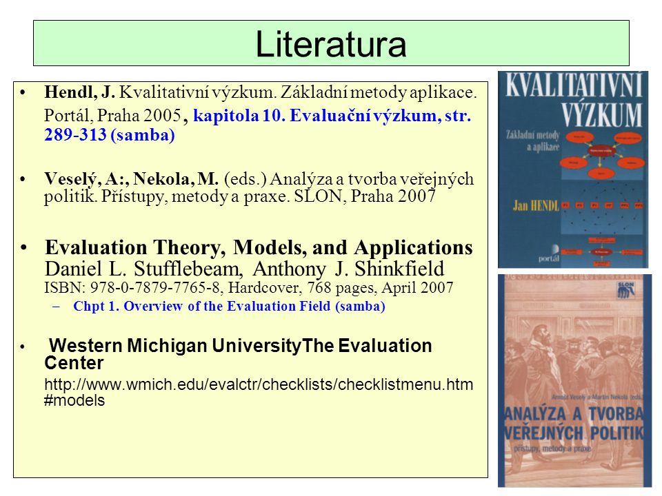 Literatura Hendl, J. Kvalitativní výzkum. Základní metody aplikace. Portál, Praha 2005, kapitola 10. Evaluační výzkum, str. 289-313 (samba) Veselý, A: