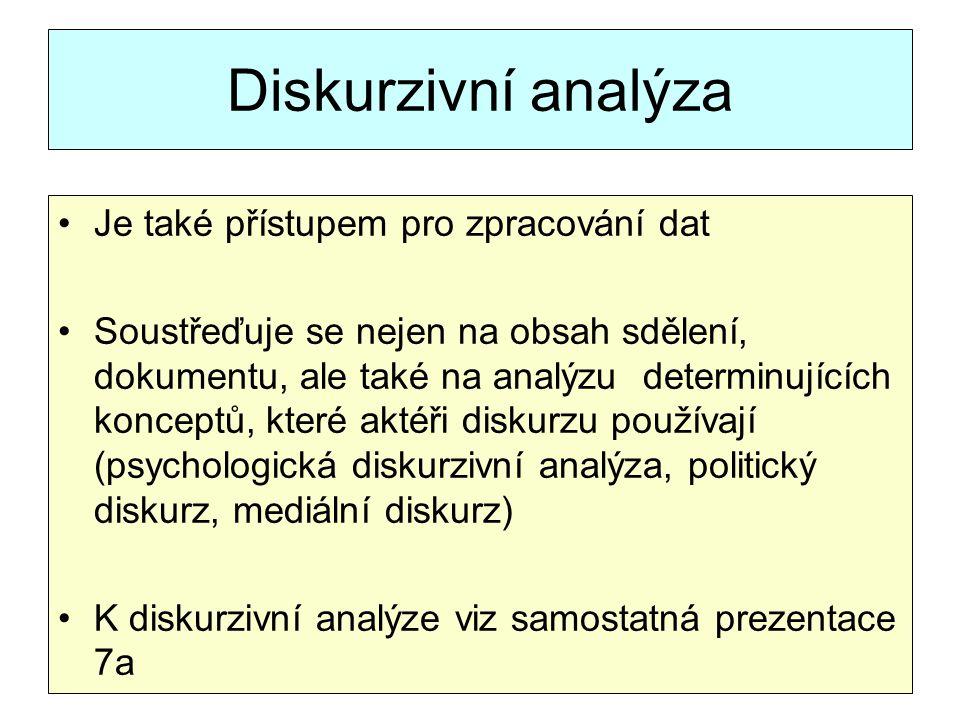 Diskurzivní analýza Je také přístupem pro zpracování dat Soustřeďuje se nejen na obsah sdělení, dokumentu, ale také na analýzu determinujících koncept