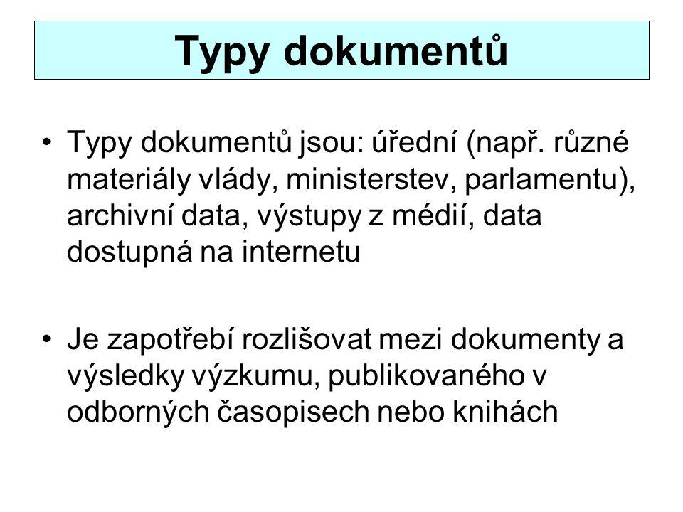 Typy dokumentů Typy dokumentů jsou: úřední (např. různé materiály vlády, ministerstev, parlamentu), archivní data, výstupy z médií, data dostupná na i