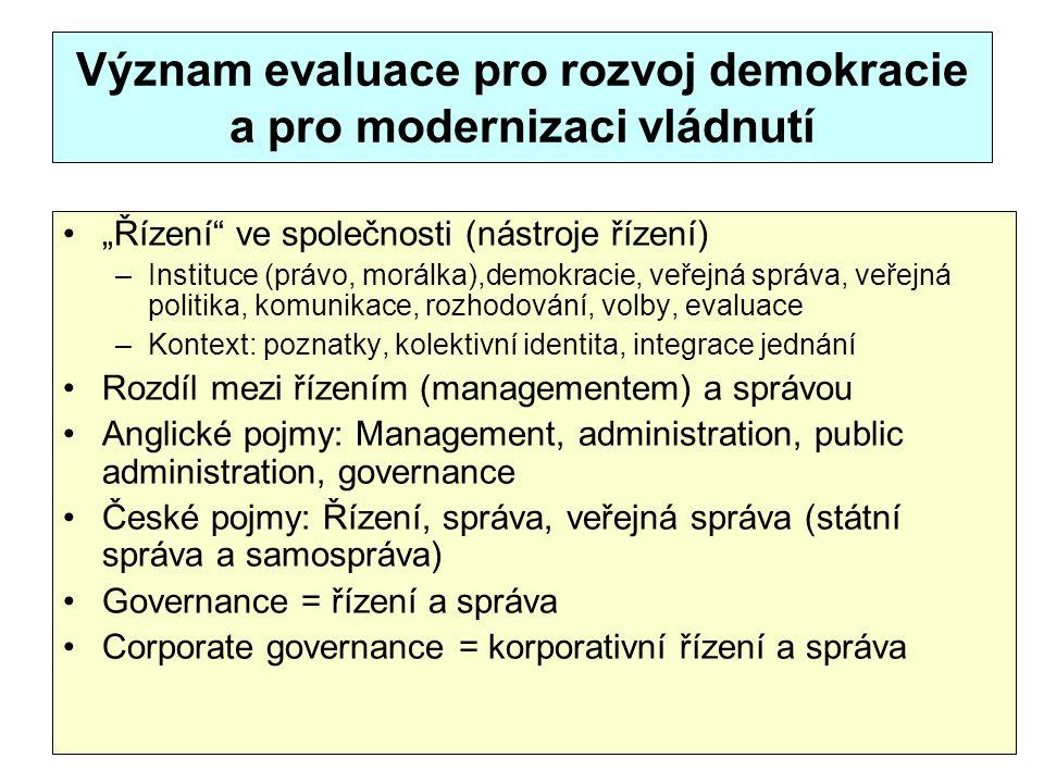 """Význam evaluace pro rozvoj demokracie a pro modernizaci vládnutí """"Řízení"""" ve společnosti (nástroje řízení) –Instituce (právo, morálka),demokracie, veř"""