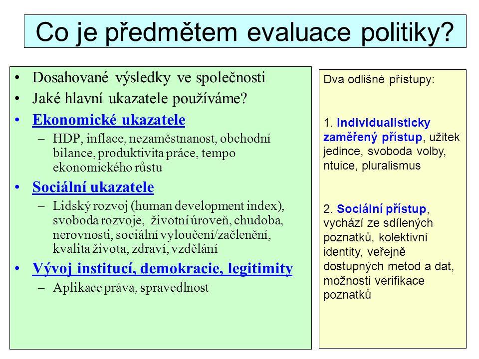 Co je předmětem evaluace politiky? Dosahované výsledky ve společnosti Jaké hlavní ukazatele používáme? Ekonomické ukazatele –HDP, inflace, nezaměstnan