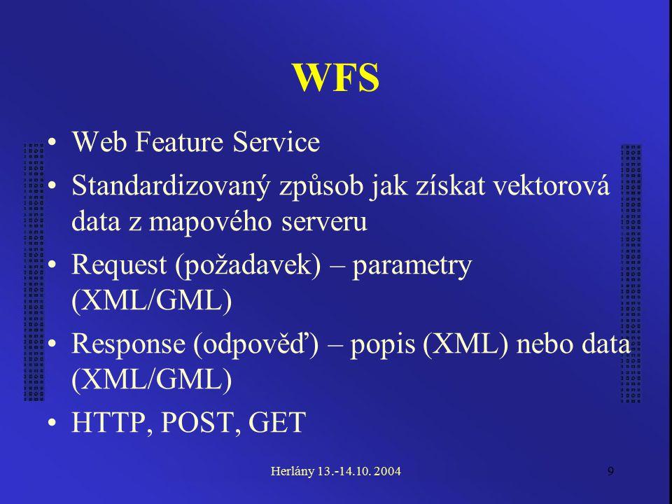 9 WFS Web Feature Service Standardizovaný způsob jak získat vektorová data z mapového serveru Request (požadavek) – parametry (XML/GML) Response (odpověď) – popis (XML) nebo data (XML/GML) HTTP, POST, GET Herlány 13.-14.10.