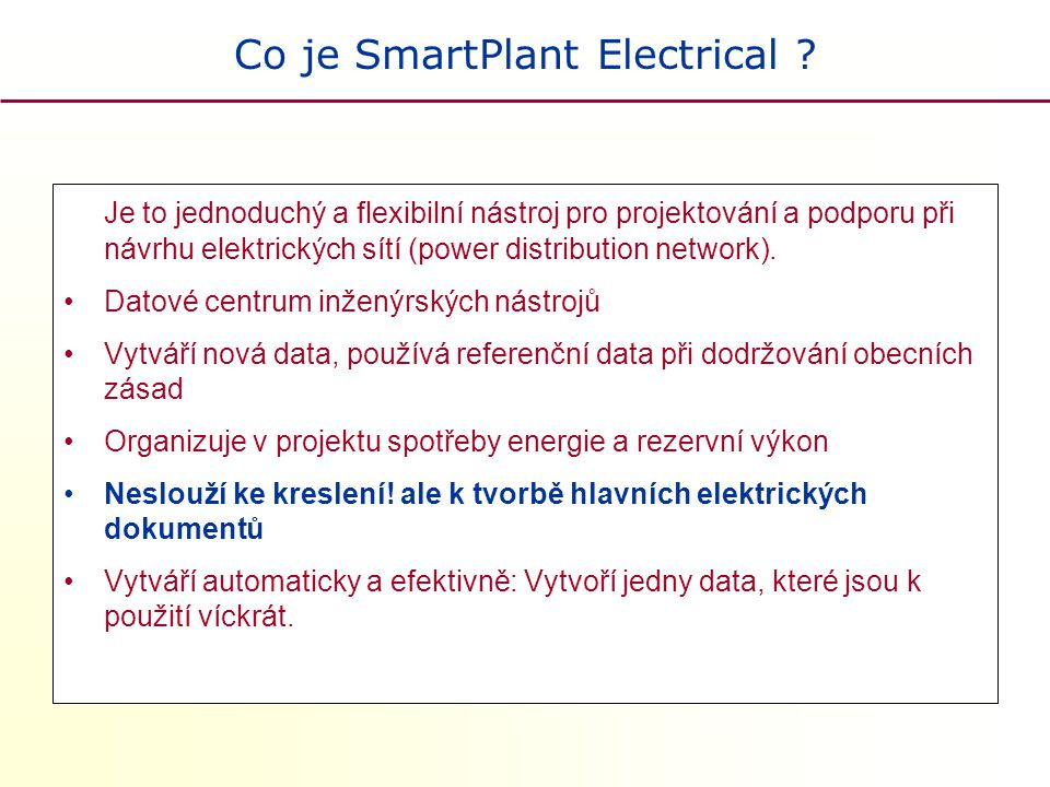 Co je SmartPlant Electrical .