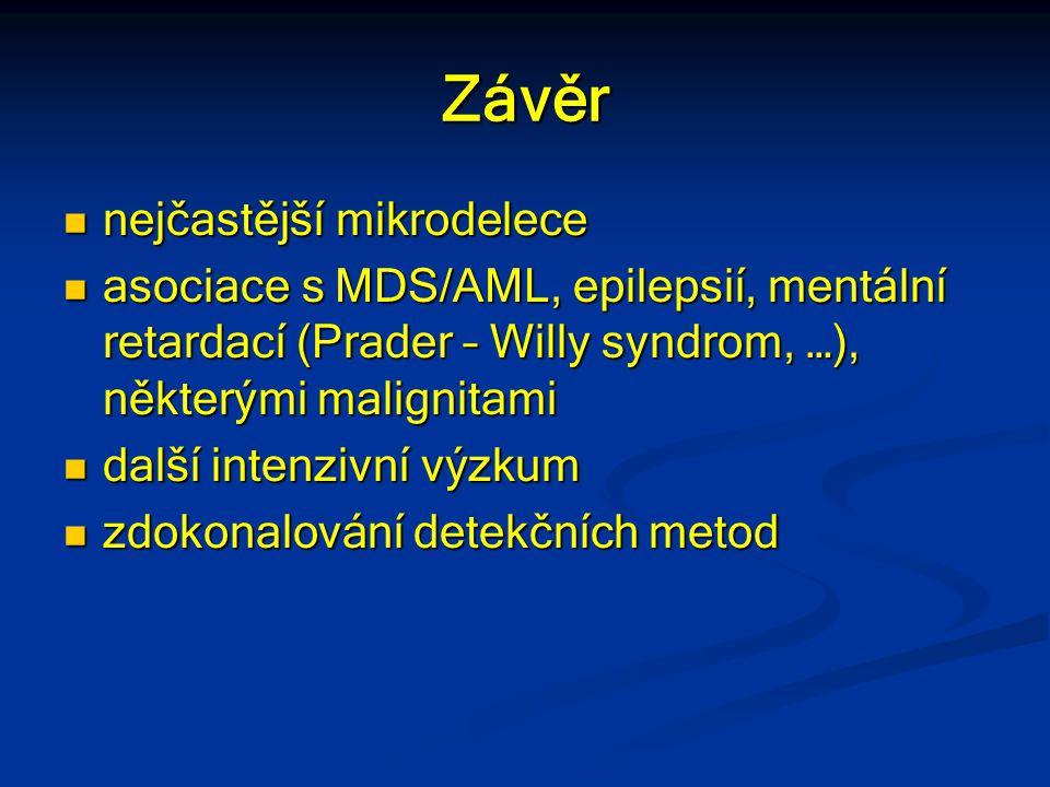 Závěr nejčastější mikrodelece nejčastější mikrodelece asociace s MDS/AML, epilepsií, mentální retardací (Prader – Willy syndrom, …), některými maligni