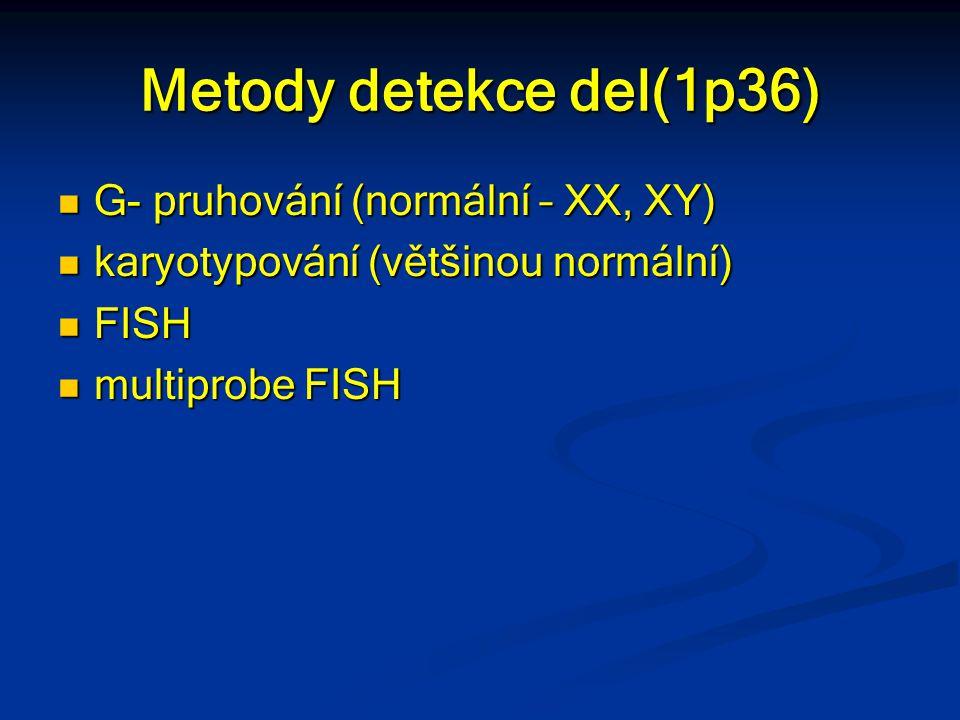 Metody detekce del(1p36) G- pruhování (normální – XX, XY) G- pruhování (normální – XX, XY) karyotypování (většinou normální) karyotypování (většinou n