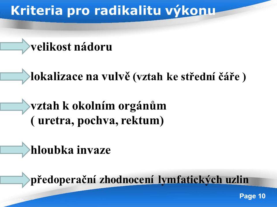 Powerpoint Templates Page 10 velikost nádoru lokalizace na vulvě (vztah ke střední čáře ) vztah k okolním orgánům ( uretra, pochva, rektum) hloubka in