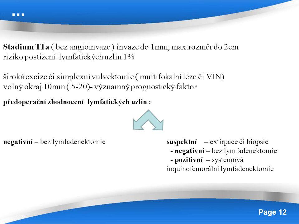 Powerpoint Templates Page 12 Stadium T1a ( bez angioinvaze ) invaze do 1mm, max.rozměr do 2cm riziko postižení lymfatických uzlin 1% široká excize či