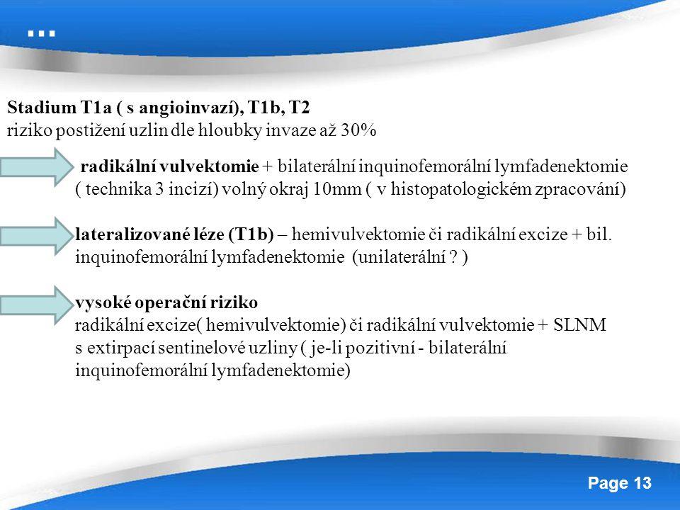 Powerpoint Templates Page 13 Stadium T1a ( s angioinvazí), T1b, T2 riziko postižení uzlin dle hloubky invaze až 30% radikální vulvektomie + bilateráln