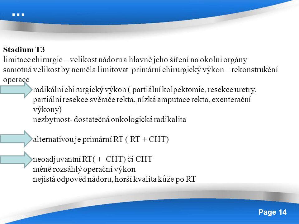 Powerpoint Templates Page 14 Stadium T3 limitace chirurgie – velikost nádoru a hlavně jeho šíření na okolní orgány samotná velikost by neměla limitova