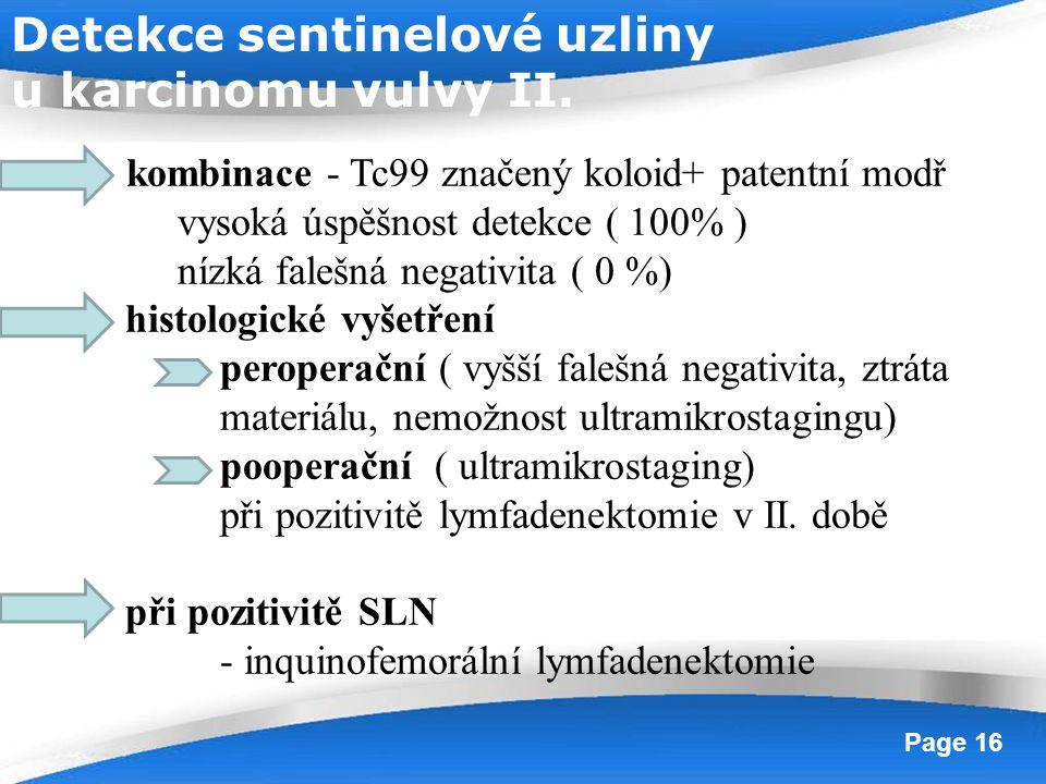 Powerpoint Templates Page 16 kombinace - Tc99 značený koloid+ patentní modř vysoká úspěšnost detekce ( 100% ) nízká falešná negativita ( 0 %) histolog