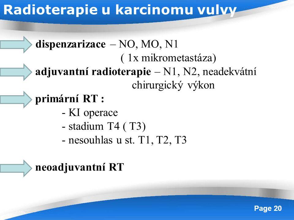 Powerpoint Templates Page 20 dispenzarizace – NO, MO, N1 ( 1x mikrometastáza) adjuvantní radioterapie – N1, N2, neadekvátní chirurgický výkon primární