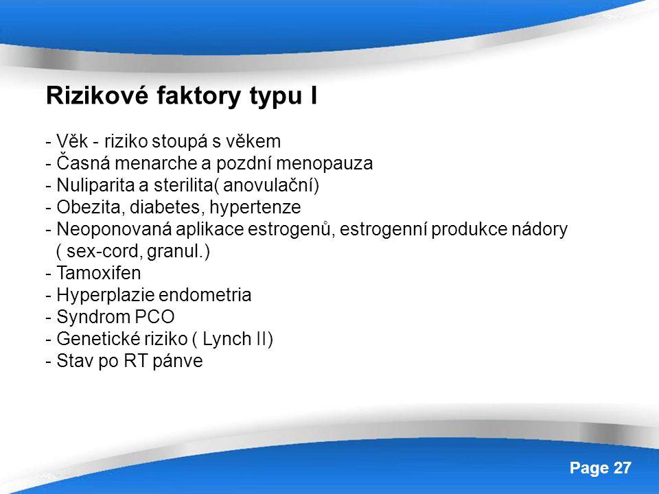 Powerpoint Templates Page 27 Rizikové faktory typu I - Věk - riziko stoupá s věkem - Časná menarche a pozdní menopauza - Nuliparita a sterilita( anovu