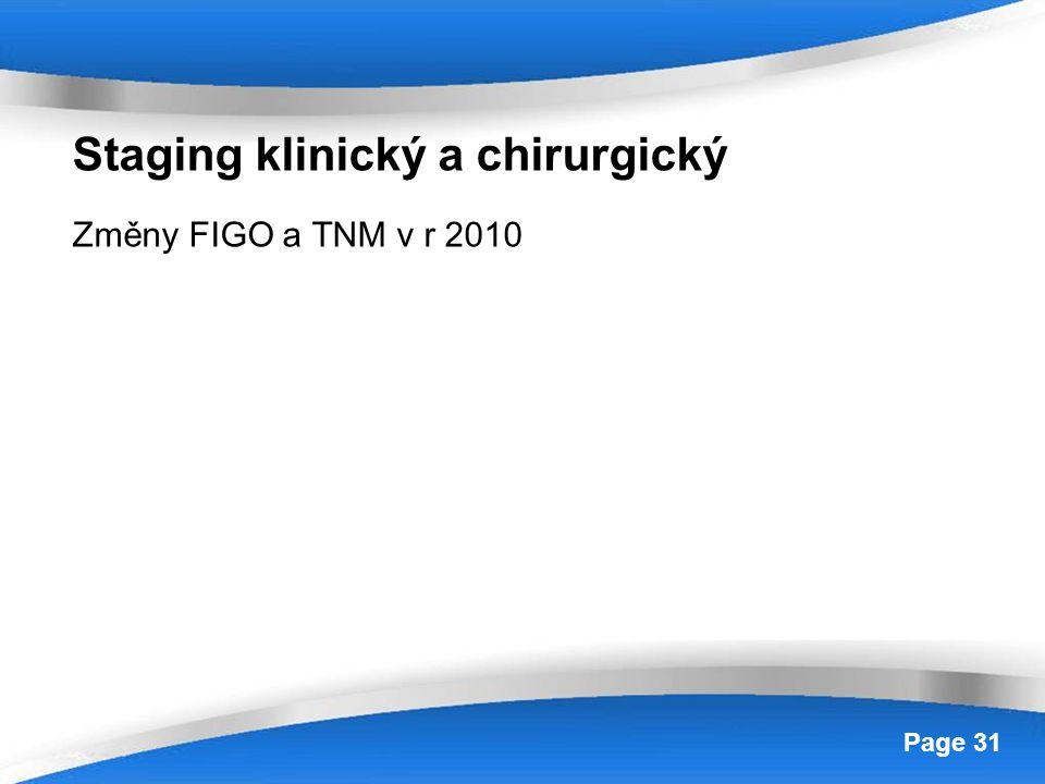 Powerpoint Templates Page 31 Staging klinický a chirurgický Změny FIGO a TNM v r 2010
