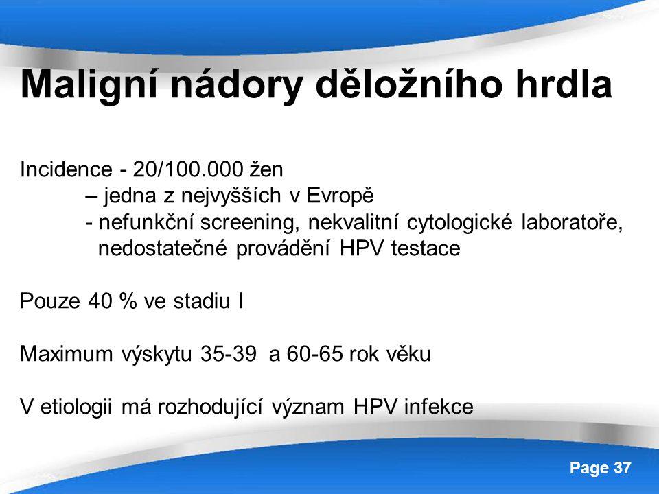 Powerpoint Templates Page 37 Maligní nádory děložního hrdla Incidence - 20/100.000 žen – jedna z nejvyšších v Evropě - nefunkční screening, nekvalitní