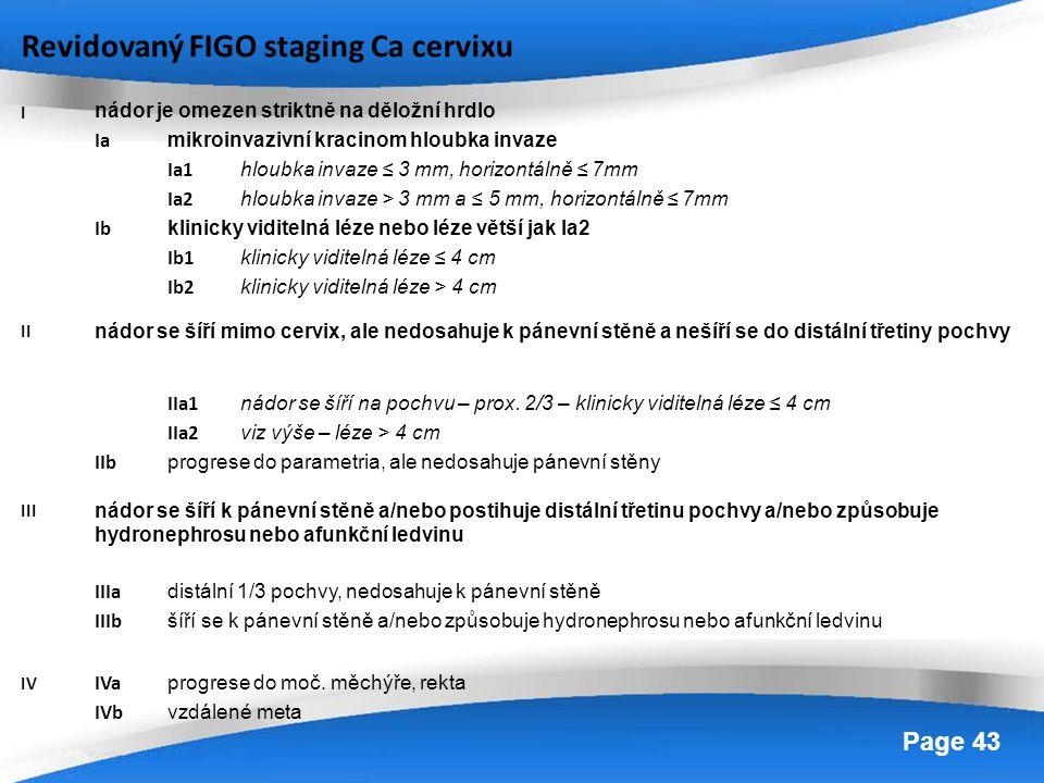 Powerpoint Templates Page 43 Revidovaný FIGO staging Ca cervixu I nádor je omezen striktně na děložní hrdlo Ia mikroinvazivní kracinom hloubka invaze