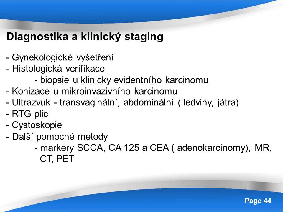Powerpoint Templates Page 44 Diagnostika a klinický staging - Gynekologické vyšetření - Histologická verifikace - biopsie u klinicky evidentního karci