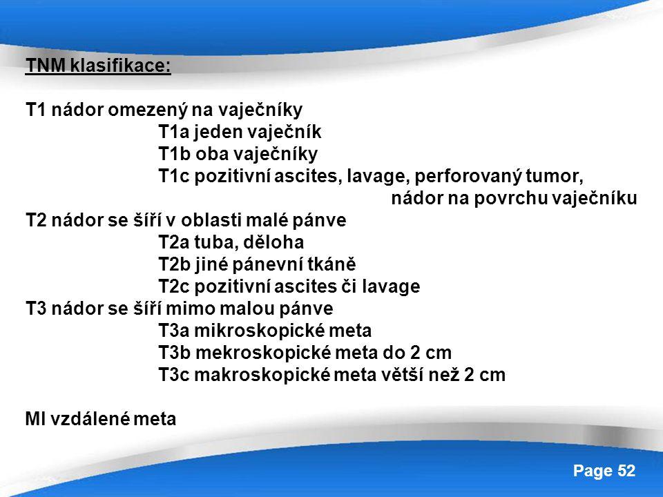 Powerpoint Templates Page 52 TNM klasifikace: T1 nádor omezený na vaječníky T1a jeden vaječník T1b oba vaječníky T1c pozitivní ascites, lavage, perfor