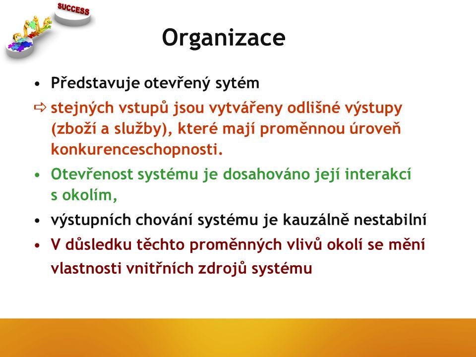 Organizace Představuje otevřený sytém  stejných vstupů jsou vytvářeny odlišné výstupy (zboží a služby), které mají proměnnou úroveň konkurenceschopnosti.