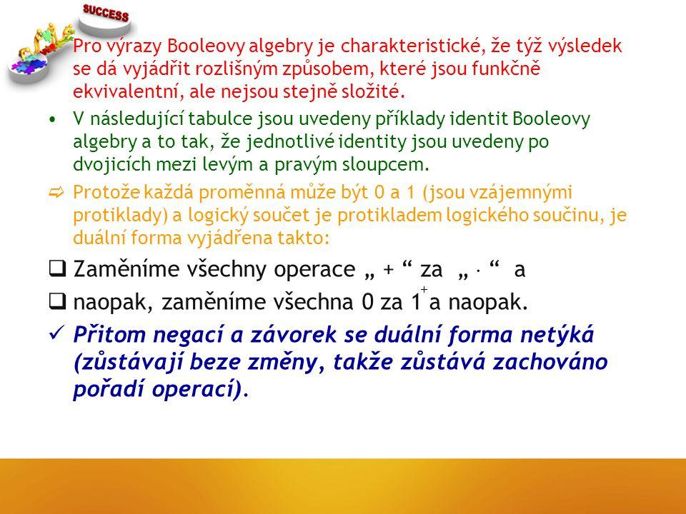 Pro výrazy Booleovy algebry je charakteristické, že týž výsledek se dá vyjádřit rozlišným způsobem, které jsou funkčně ekvivalentní, ale nejsou stejně složité.