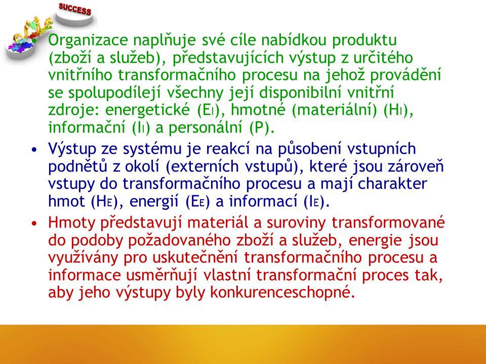 Organizace naplňuje své cíle nabídkou produktu (zboží a služeb), představujících výstup z určitého vnitřního transformačního procesu na jehož provádění se spolupodílejí všechny její disponibilní vnitřní zdroje: energetické (E I ), hmotné (materiální) (H I ), informační (I I ) a personální (P).