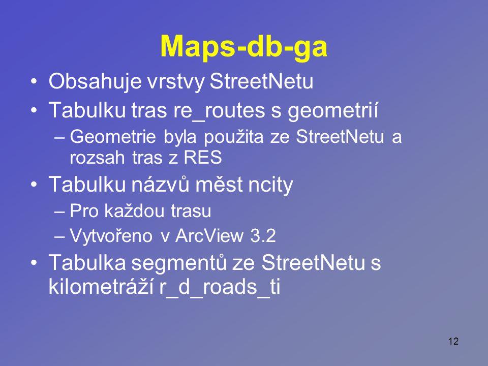 12 Maps-db-ga Obsahuje vrstvy StreetNetu Tabulku tras re_routes s geometrií –Geometrie byla použita ze StreetNetu a rozsah tras z RES Tabulku názvů měst ncity –Pro každou trasu –Vytvořeno v ArcView 3.2 Tabulka segmentů ze StreetNetu s kilometráží r_d_roads_ti