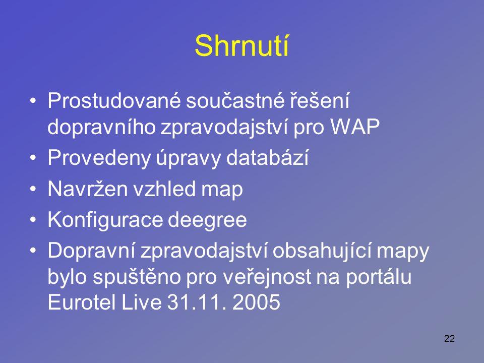 22 Shrnutí Prostudované součastné řešení dopravního zpravodajství pro WAP Provedeny úpravy databází Navržen vzhled map Konfigurace deegree Dopravní zpravodajství obsahující mapy bylo spuštěno pro veřejnost na portálu Eurotel Live 31.11.