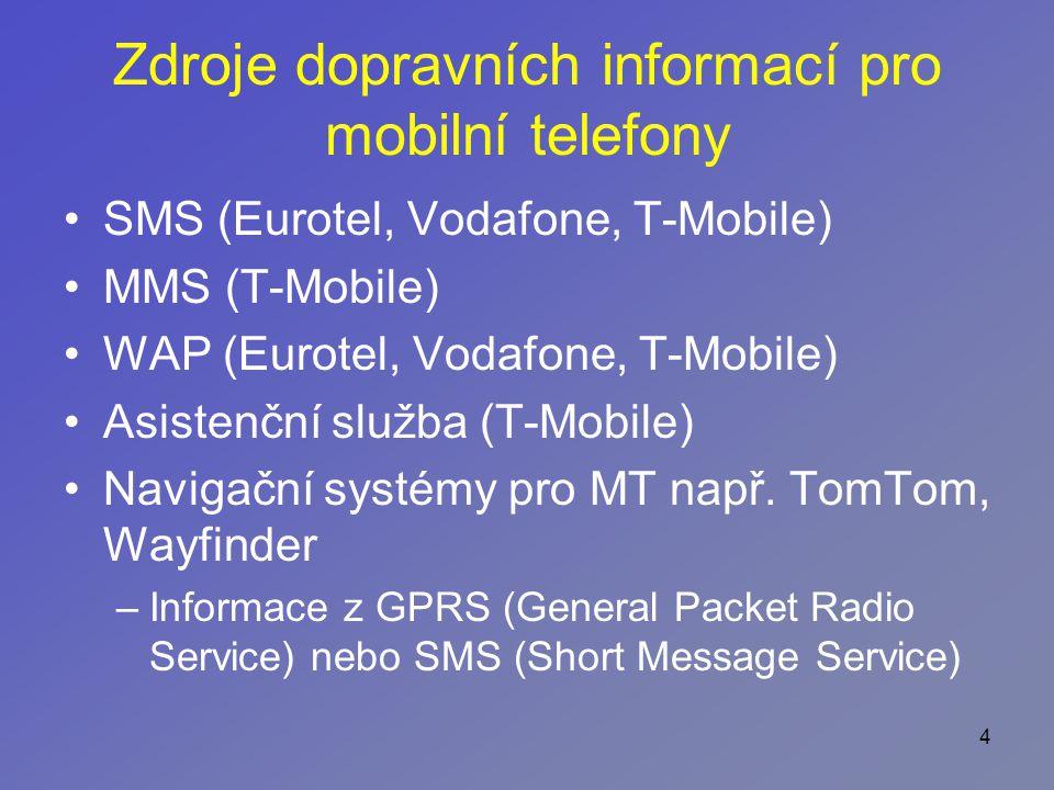 4 Zdroje dopravních informací pro mobilní telefony SMS (Eurotel, Vodafone, T-Mobile) MMS (T-Mobile) WAP (Eurotel, Vodafone, T-Mobile) Asistenční služba (T-Mobile) Navigační systémy pro MT např.