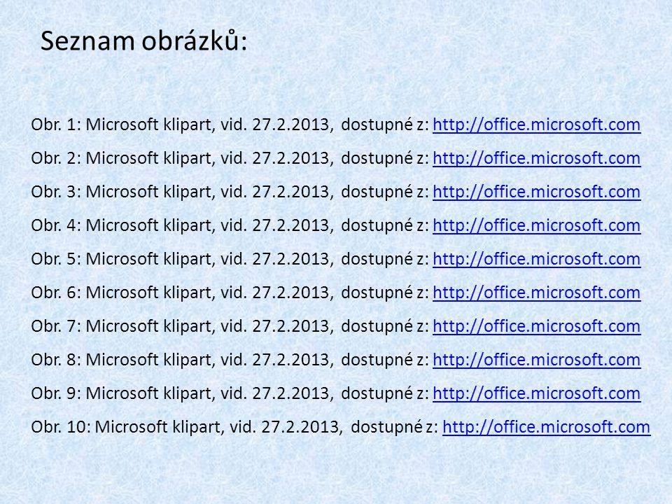 Seznam obrázků: Obr. 1: Microsoft klipart, vid. 27.2.2013, dostupné z: http://office.microsoft.comhttp://office.microsoft.com Obr. 2: Microsoft klipar