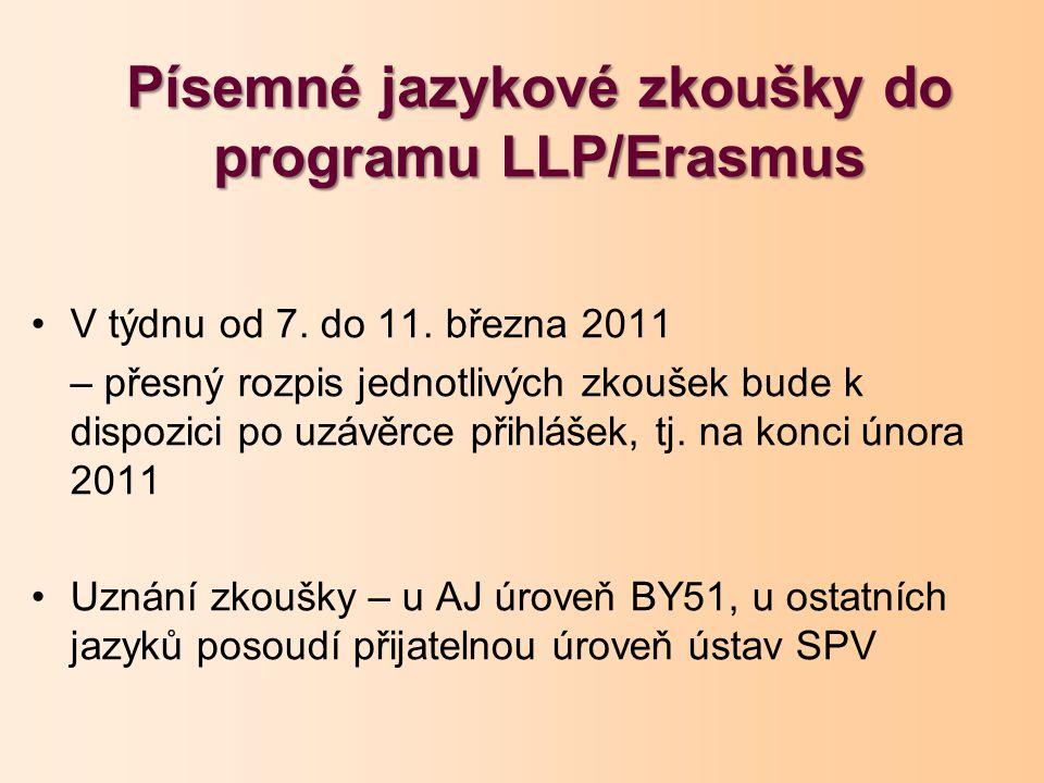 Písemné jazykové zkoušky do programu LLP/Erasmus V týdnu od 7.