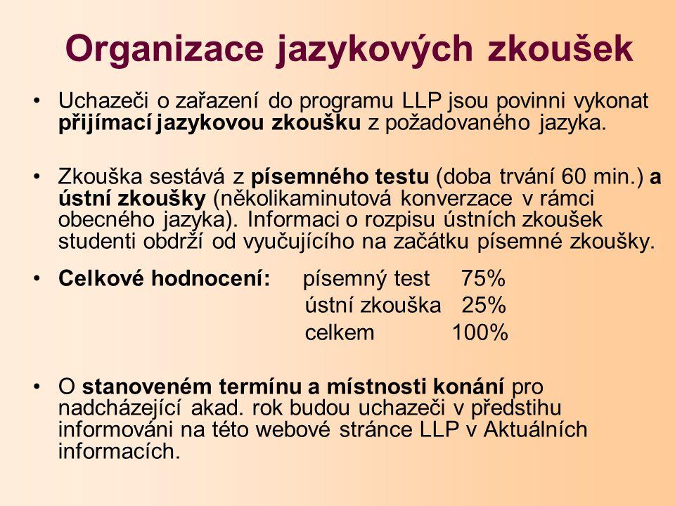 Uchazeči o zařazení do programu LLP jsou povinni vykonat přijímací jazykovou zkoušku z požadovaného jazyka.