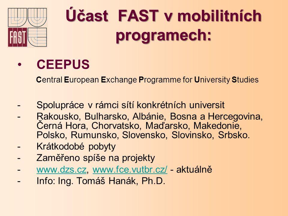 Účast FAST v mobilitních programech: CEEPUS Central European Exchange Programme for University Studies -Spolupráce v rámci sítí konkrétních universit -Rakousko, Bulharsko, Albánie, Bosna a Hercegovina, Černá Hora, Chorvatsko, Maďarsko, Makedonie, Polsko, Rumunsko, Slovensko, Slovinsko, Srbsko.