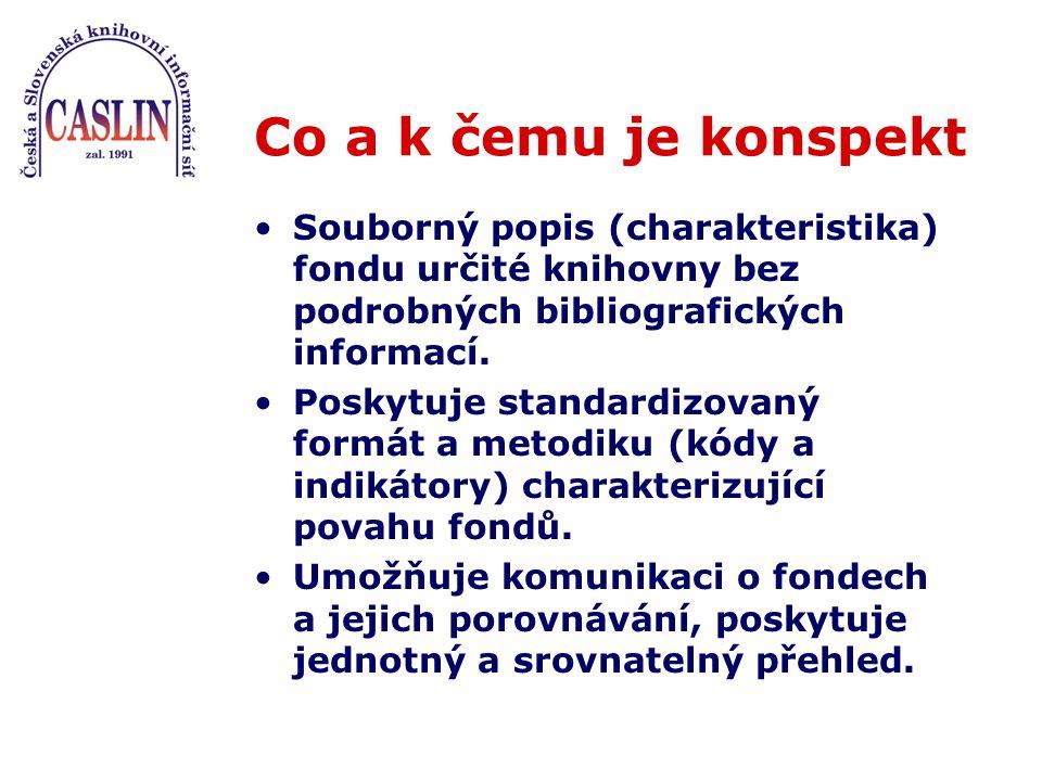 Co a k čemu je konspekt Souborný popis (charakteristika) fondu určité knihovny bez podrobných bibliografických informací.