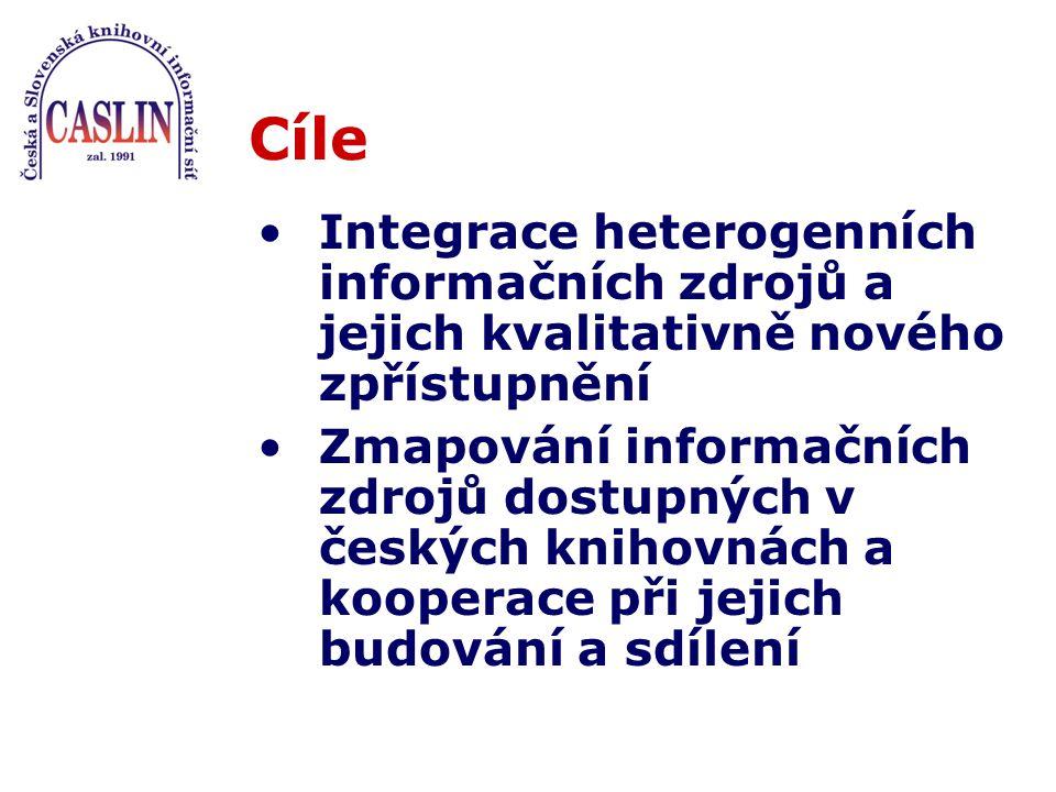 Cíle Integrace heterogenních informačních zdrojů a jejich kvalitativně nového zpřístupnění Zmapování informačních zdrojů dostupných v českých knihovnách a kooperace při jejich budování a sdílení