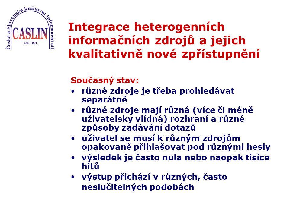 Integrace heterogenních informačních zdrojů a jejich kvalitativně nové zpřístupnění Současný stav: různé zdroje je třeba prohledávat separátně různé zdroje mají různá (více či méně uživatelsky vlídná) rozhraní a různé způsoby zadávání dotazů uživatel se musí k různým zdrojům opakovaně přihlašovat pod různými hesly výsledek je často nula nebo naopak tisíce hitů výstup přichází v různých, často neslučitelných podobách