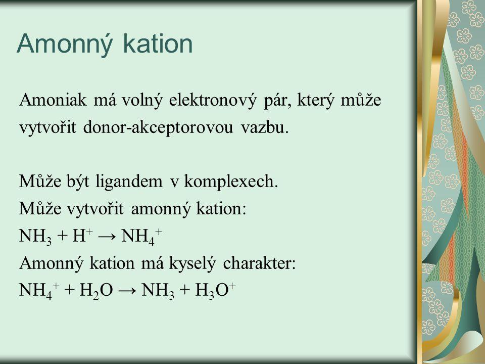 Amonný kation Amoniak má volný elektronový pár, který může vytvořit donor-akceptorovou vazbu. Může být ligandem v komplexech. Může vytvořit amonný kat