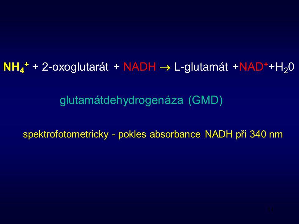 14 NH 4 + + 2-oxoglutarát + NADH  L-glutamát +NAD + +H 2 0 glutamátdehydrogenáza (GMD) spektrofotometricky - pokles absorbance NADH při 340 nm