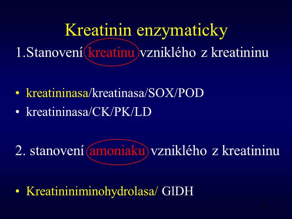 26 Kreatinin enzymaticky 1.Stanovení kreatinu vzniklého z kreatininu kreatininasa/kreatinasa/SOX/POD kreatininasa/CK/PK/LD 2.