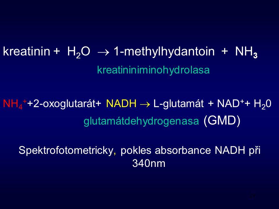 29 kreatinin + H 2 O  1-methylhydantoin + NH 3 kreatininiminohydrolasa NH 4 + +2-oxoglutarát+ NADH  L-glutamát + NAD + + H 2 0 glutamátdehydrogenasa (GMD) Spektrofotometricky, pokles absorbance NADH při 340nm